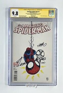 Amazing Spider-man #1 Signé X2 Stan Lee Avec Skottie Young Sketch Cgc 9.8