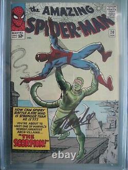 Amazing Spider-man #20 Cgc 6.0 Ss Signé Stan Lee Origine & 1ère Application Scorpion