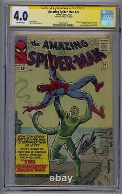Amazing Spider-man #20 Ss Cgc 4.0 Origin/1st Scorpion Signé Par Stan Lee