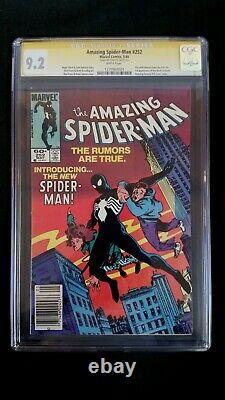 Amazing Spider-man #252 Cgc 9.2 Ss Signé Stan Lee White Pages Newsstand Venom