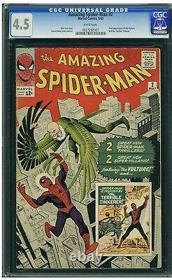 Amazing Spider-man #2 Cgc 4.5 Marvel 1963 1er Vautour! Vengeurs! Stan Lee Ditko