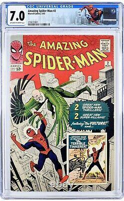 Amazing Spider-man #2 Cgc 7.0 Marvel 1963 1er Vautour! Stan Lee Steve Ditko