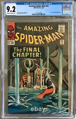 Amazing Spider-man #33 (1966) Cgc 9.2 - O/w Aux Pages Blanches Stan Lee & Ditko