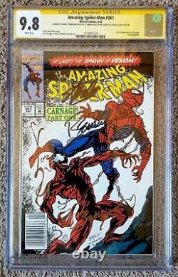 Amazing Spider-man #361 Cgc 9.8 Signé Par Stan Lee Bagley Emberlin Newsstand Set