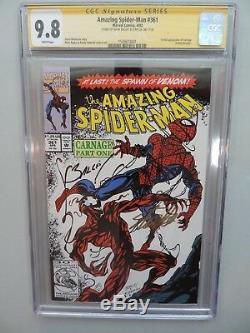 Amazing Spider-man 361 Cgc 9.8 Signé Ss Stan Lee Et Mark Bagley Carnage Venom