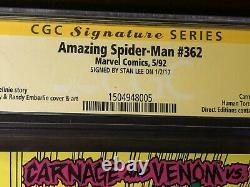 Amazing Spider-man #362 (1992) 2nd Carnage Signé Stan Lee-cgc 9.8! Kiosque À Journaux