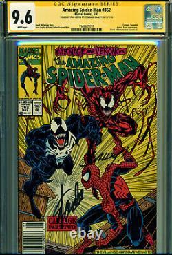 Amazing Spider-man #362 Cgc 9.6 2x Signé Par Stan Lee & M Bagley! Tous Les Kiosques À Journaux