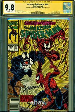Amazing Spider-man #362 Cgc 9.8 Ss 2x Signé Par Stan Lee & M Bagley Kiosque À Journaux
