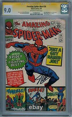Amazing Spider-man #38 Cgc 9.0 Série Signature Signée Stan Lee Dernier Ditko