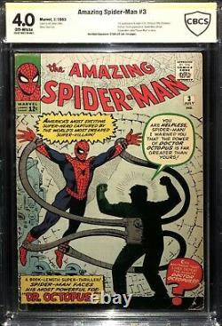 Amazing Spider-man 3 Cbcs Not Cgc (1st App Doctor Octopus) Stan Lee Signé