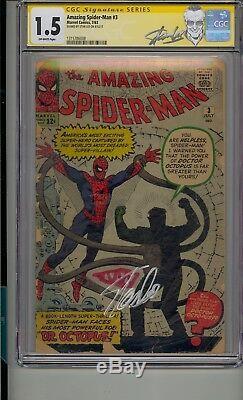 Amazing Spider-man # 3 Cgc 1,5 Ss Signé Stan Lee Origine 1st App Doctor Octopus