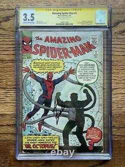 Amazing Spider-man #3 Cgc 3.5 Signé Par Stan Lee 1er Docteur Octopus No Way Accueil