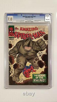 Amazing Spider-man # 41 (cgc 7.0! 1er App Rhino! Stan Lee Histoire!)