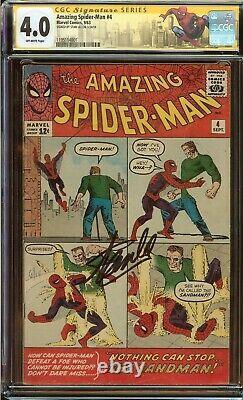 Amazing Spider-man #4 Cgc 4.0 Signé Stan Lee, Origin &1ère Application. Marchand De Sable En 1963