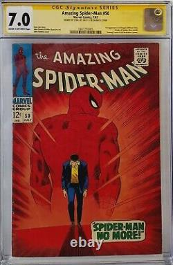 Amazing Spider-man #50 Cgc 7.0 Ss Signé Stan Lee Sur La Couverture Arrière 1er Kingpin