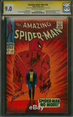 Amazing Spider-man 50 Cgc 9,0 3x Ss John Romita Sr Et Signé Deux Fois Par Stan Lee