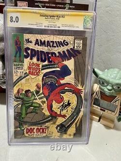 Amazing Spider-man #53 Cgc 8.0 Signé Stan Lee Pages Blanches Signature Parfaite