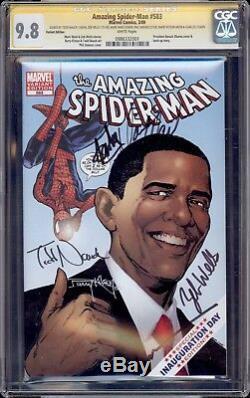 Amazing Spider-man 583 Cgc 9,8 5x Ss Stan Lee Romita Kitson Jimenez Waid Obama