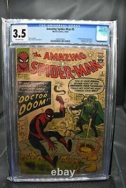 Amazing Spider-man #5 Cgc 3.5 Marvel 1963 1er Doctor Doom En Dehors De Ff Stan Lee Dr