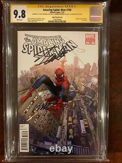Amazing Spider-man 700g Coipel Cgc Ss 9.8 Signé 3x Stan Lee, Ramos, Campbell