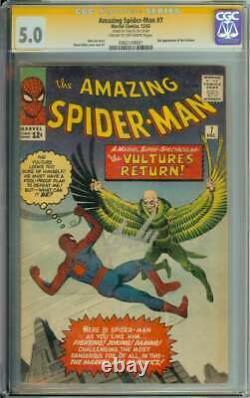 Amazing Spider-man #7 Cgc 5.0 Cr/ow Pages // Signé Par Stan Lee