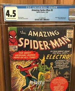 Amazing Spider-man #9 Cgc 4.5 Owithw First Electro App Stan Lee Steve Ditko