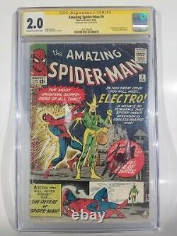 Amazing Spider-man # 9 Cgc Signé Stan Lee 1er Apparence Electro Key