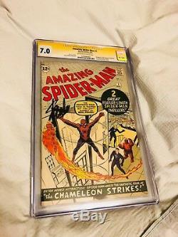 Amazing Spider-man Cgc 7.0 Ss Stan Lee 1er App Jameson Jonas! Ff App! Clé