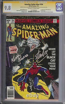 Amazing Spiderman 194 Cgc 9.8 Signé Par Stan Lee Milgrom Pollard Kiosque À Journaux