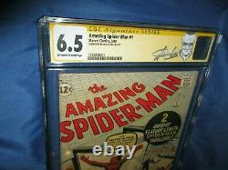 Amazing Spiderman #1 Cgc 6.5 Ss Signé/autographe Par Stan Lee 1963