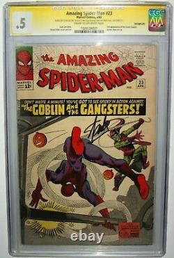 Amazing Spiderman #23 Stan Lee Ss Signé Cgc 0.5 3ème Green Goblin Ditko Art