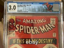 Amazing Spiderman #31 Cgc 3.0 Marvel 1965 Stan Lee 1ère Apparition De Gwen Stacy