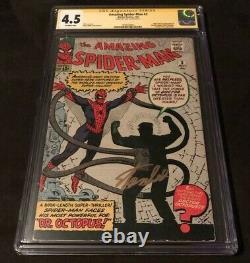 Amazing Spiderman #3 Cgc 4.5 Signé Stan Lee Première Apparition Docteur Octopus