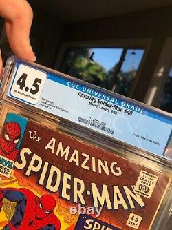 Amazing Spiderman #40 Cgc 4.5 Origine Du Gobelin Vert! Pages Owithw! Stan Lee