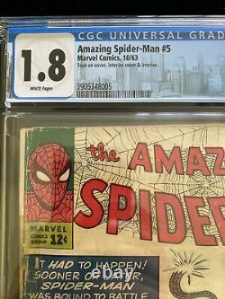 Amazing Spiderman #5 Cgc 1.8 Pages Blanches, Marvel 10/63 Stan Lee Steve Ditko Key