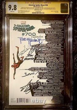 Amazing Spiderman #700 7x Signé Stan Lee, Romita, Rubinstein, Mcfarlane, Bagley