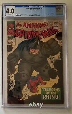 Bd Marvel Stan Lee Amazing Spiderman 41 Cgc 4.0 1ère Apparition Du Rhino