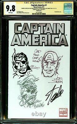 Captain America 1 Cgc 9.8 Ss 3x Croquis Joe Simon Bellman Sinnott Signé Stan Lee