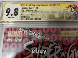Couverture De La Variante Fantôme De Spider-gwen #1 Cgc Ss 9.8 Signé Stan Lee/todd Mcfarlane