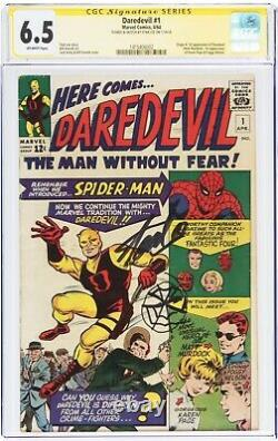 Daredevil #1 Signé Et Esquivé Spider-man Par Stan Lee Cgc 6,5 Fn+ Rare 1 De 1