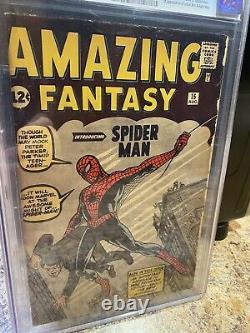 Fantasme Incroyable #15 Cgc 3.0 Stan Lee Signé Af15 1ère Apparition De Spider-man