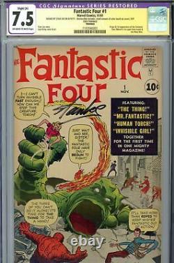 Fantastic Four #1 Cgc 7.5 Ss Signé Stan Lee
