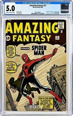 Fantasy Incroyable 15 Cgc 5.0 Origine Et Première Apparition De Spider-man & Stan Lee Coin