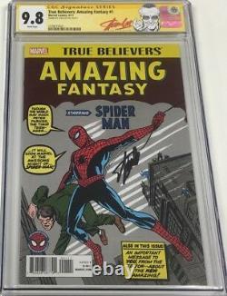 Fantasy Incroyable #15 Réimpression Signée Stan Lee Cgc 9.8 Ss 1st Spiderman Apparence