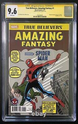 Fantasy Incroyable Vrais Croyants 15 Cgc 9.6 Ss Signé Stan Lee Spider-man