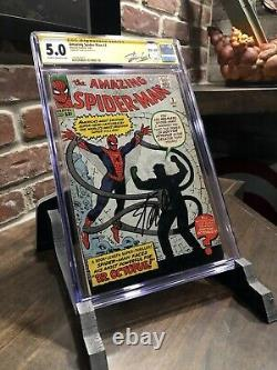 Incroyable Spider-man #3 Cgc Ss 1ère Apparition Du Docteur Octopus! Stan Lee A Signé