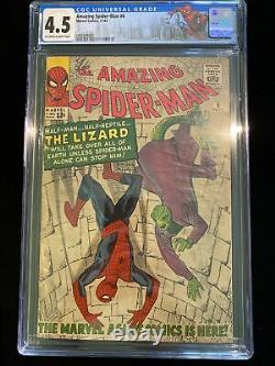 Incroyable Spider-man #6 Cgc 4.5 Marvel 11/63 Origine Et 1ère App. Lézard Stan Lee