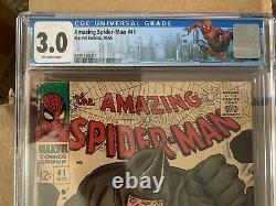 Incroyable Spiderman #41 1ère Apparition Rhino! Cgc 3.0 Sinister Six Mcu Stan