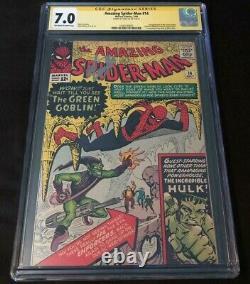 Marvel Amazing Spiderman 14 Cgc 7.0 Signé Stan Lee 1ère Apparition Gobelin Vert