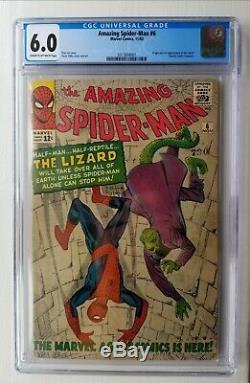 Marvel Comics Amazing Spider-man # 6 Cgc 6.0 1er Lizard Stan Lee, Ditko 1963